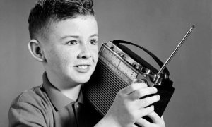 boy listening to the radio